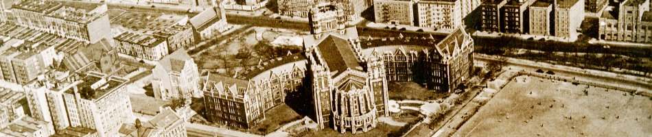 Aerial view of Shepard Hall ca 1930's